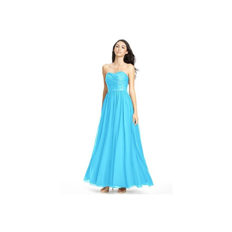 Pool Azazie Lilou - Floor Length Back Zip Sweetheart Chiffon And Lace Dress 0