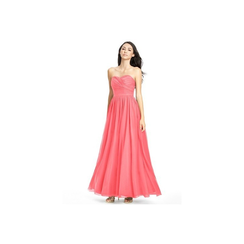 Watermelon Azazie Lilou - Floor Length Chiffon And Lace Sweetheart Back Zip Dress 0