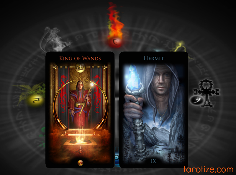 King of Wands and The Hermit Legacy of the Divine Tarot