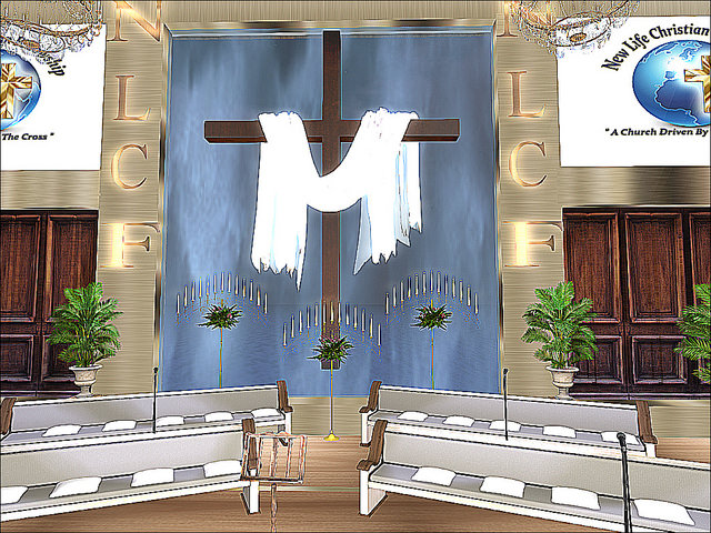 Water Edge Town - New Life Christian Fellowship - Draped Cross