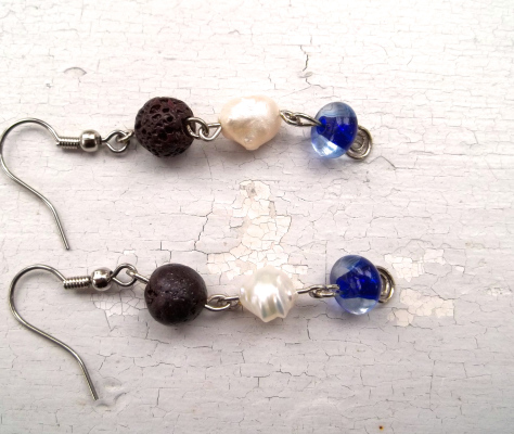 Glass-Pearl-and-Lava-Bead-Earrings