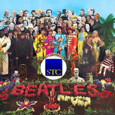 Sgt. Pepper's album cover with STC logo