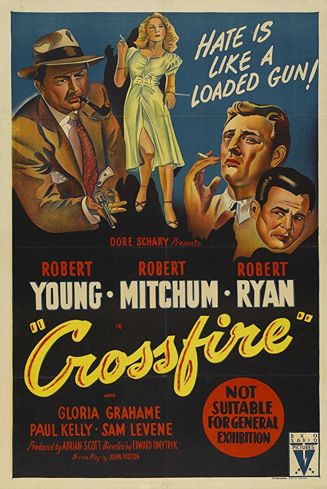 Crossfire (1947) poster noir classic drama robert ryan mitchum young