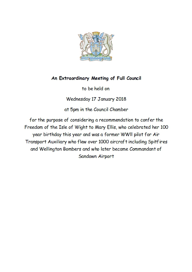 Freedom of the Wight proposal by Isle of Wight Council January 2018