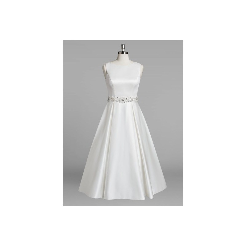 Ivory Azazie Lark BG - Boatneck Illusion Satin, Tulle And Lace Tea Length Dress 0