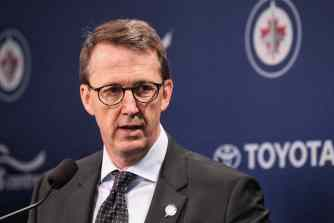 Winnipeg Jets owner Mark Chipman during the reveal of the Manitoba Moose as new name and logo for the Winnipeg Jets affiliate AHL team which is moving back to Winnipeg next season. 150504 May 4, 2015 Mike Deal / Winnipeg Free Press