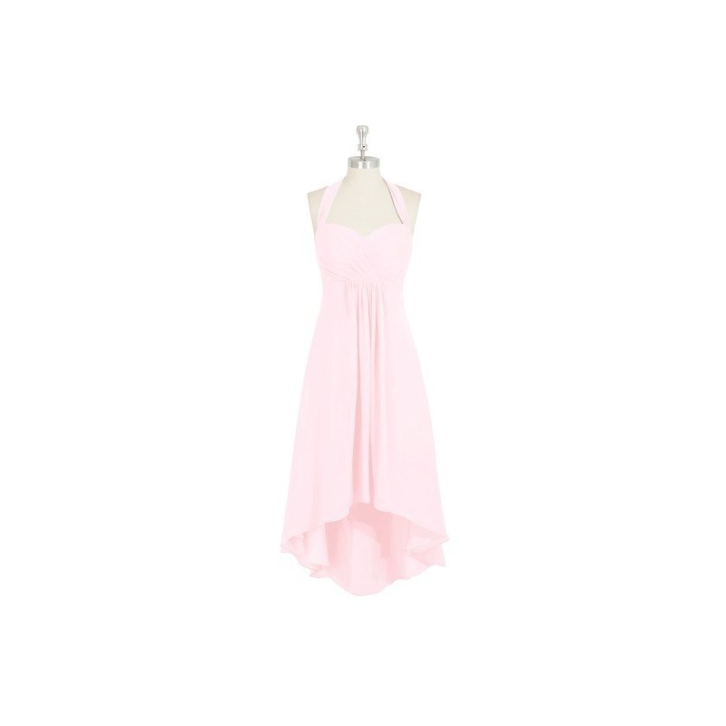 Blushing_pink Azazie Annabel - Halter Back Zip Chiffon Asymmetrical Dress 0