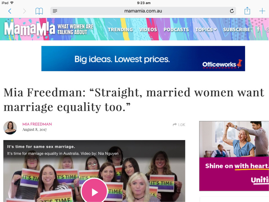 "Screenshot of article that sparked the controversial ""married4marriageequality campaign by Mia Freedman"