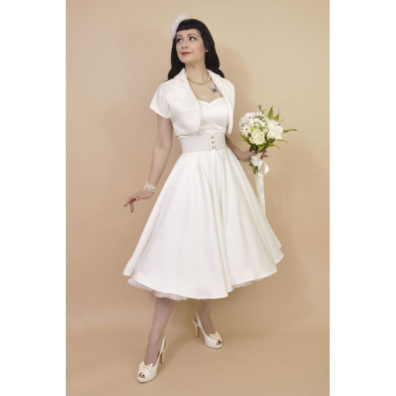 1950s Halterneck Ivory Duchess Satin Wedding Dress 0