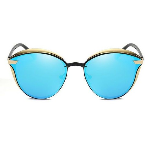 Retro Catlike Metal Polarized Lens Sunglasses Gold/Ice Blue