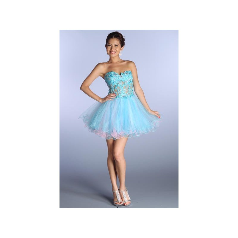 Corset Baby Doll Short Prom Dress in Blue/Pink 0