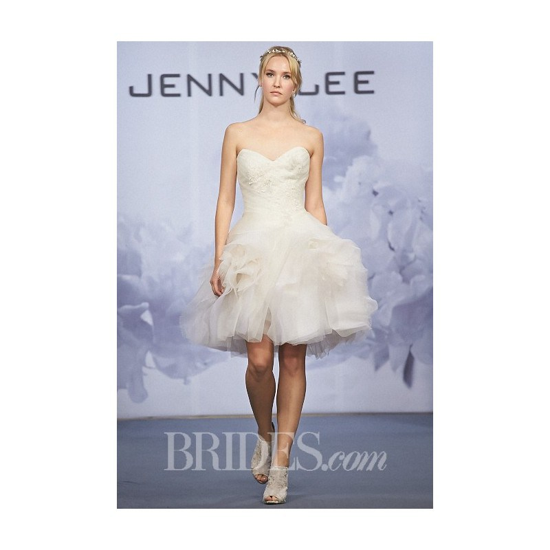 Jenny Lee - Fall 2014 - Style 1421 Knee-Length Strapless Silk Organza A-Line Wedding Dress with a Lace Bodice 0